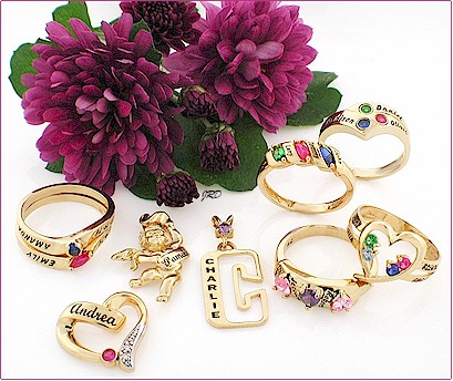 Name and birthstone personalized mothers rings.