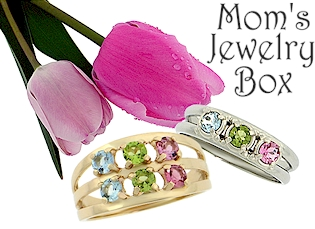 Mom's Jewelry Box- Birthstone Mothers Rings and Pendants