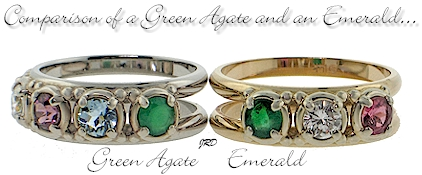 May birthstone options for rings in this mother collection- green agate or emerald